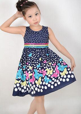 Sunny Fashion New Girls Dress Navy Blue Butterfly Party School Child Size 4-12