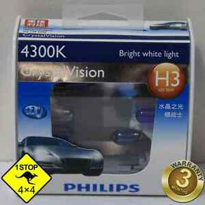 A-Pair-of-Genuine-Philips-H3-12V-55W-4300K-Crystal-Vision-Bulbs
