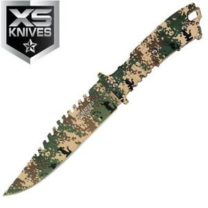 """10"""" Camo Fixed Blade Hunting Full Tang WOODLAND Survival Knife with Sheath Sharp"""