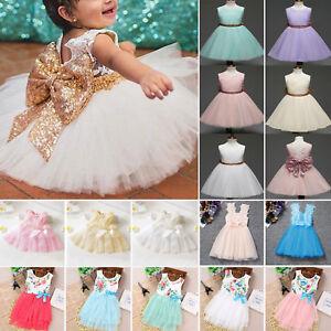7544272929daa Enfants Bébé Fille Robe Princesse Concours Fête de Noces Nœud Tutu ...