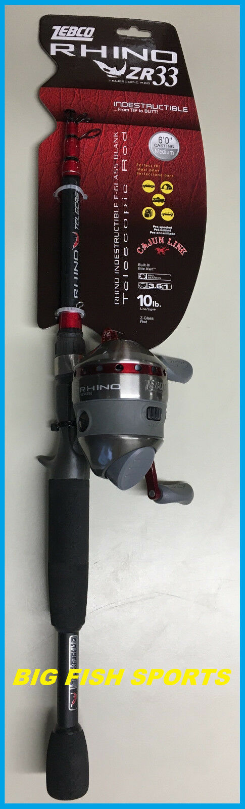 ZEBCO ZR33 SPINCAST 6' TELESCOPING Fishing Combo Rod and Reel NEW   ZR33605MTEL