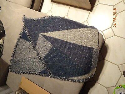 1 Gebrauchter Damenschal 200 X 66 Cm Blau Grau