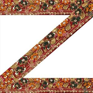 Sewing Sanskriti Vintage Sari Border Indian Craft Bandhani Trim Hand Beaded Sewing Lace Embellishments & Finishes