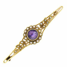 Antique Victorian 15k Yellow Gold .64ct Old Cut Amethyst & Seed Pearl Brooch Pin