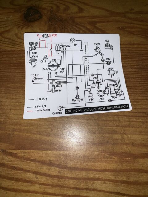 1978 Toyota Pickup Truck Hilux Vacuum Diagram Decal Repro 20r 2wd