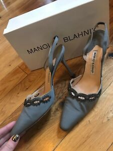 Manolo Blahnik Nude/Beige Patent Leather Bb 105 Pumps Size