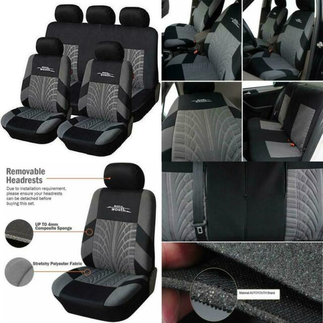 TOYOUN Universal Car Seat Covers Full Set Front Seat Covers /&Rear Bench Cover Kit Jacquard Cloth Airbag Compatible Seat Covers Set Fit Most Cars Truck SUV Van Auto Seat Protector//Covers Blue