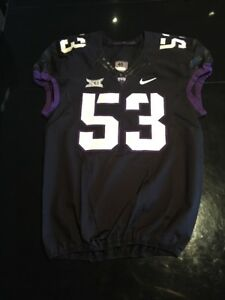 Game Worn Used Nike TCU Horned Frogs Football Jersey  53 Size 46  b94016475