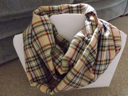 Light Gold Lomond Tartan Infinity Scarf Snood Cowl Plaid Mother/'s Day Gift