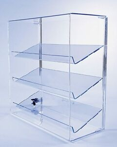 acrylic display case w 3 angled shelves locking collectible rh ebay com