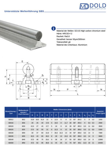 Linéaire Leadership Supported Rail sbs12-250 mm long
