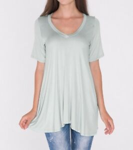 ab12092f246 Heather Gray A-Line V-Neck Loose Tunic Top T-Shirt Blouse SML/Plus ...