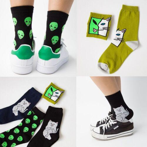Cartoon Cat Socks Alien Stockings Art Funny Women Autumn Winter Cotton Sock
