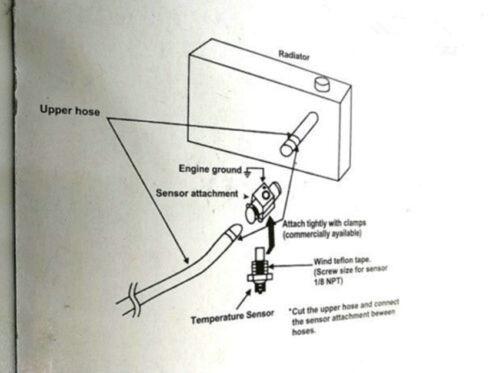 Universal 30mm Water Temp Gauge Joint Pipe Sensor Radiator Hose Adapter Blue