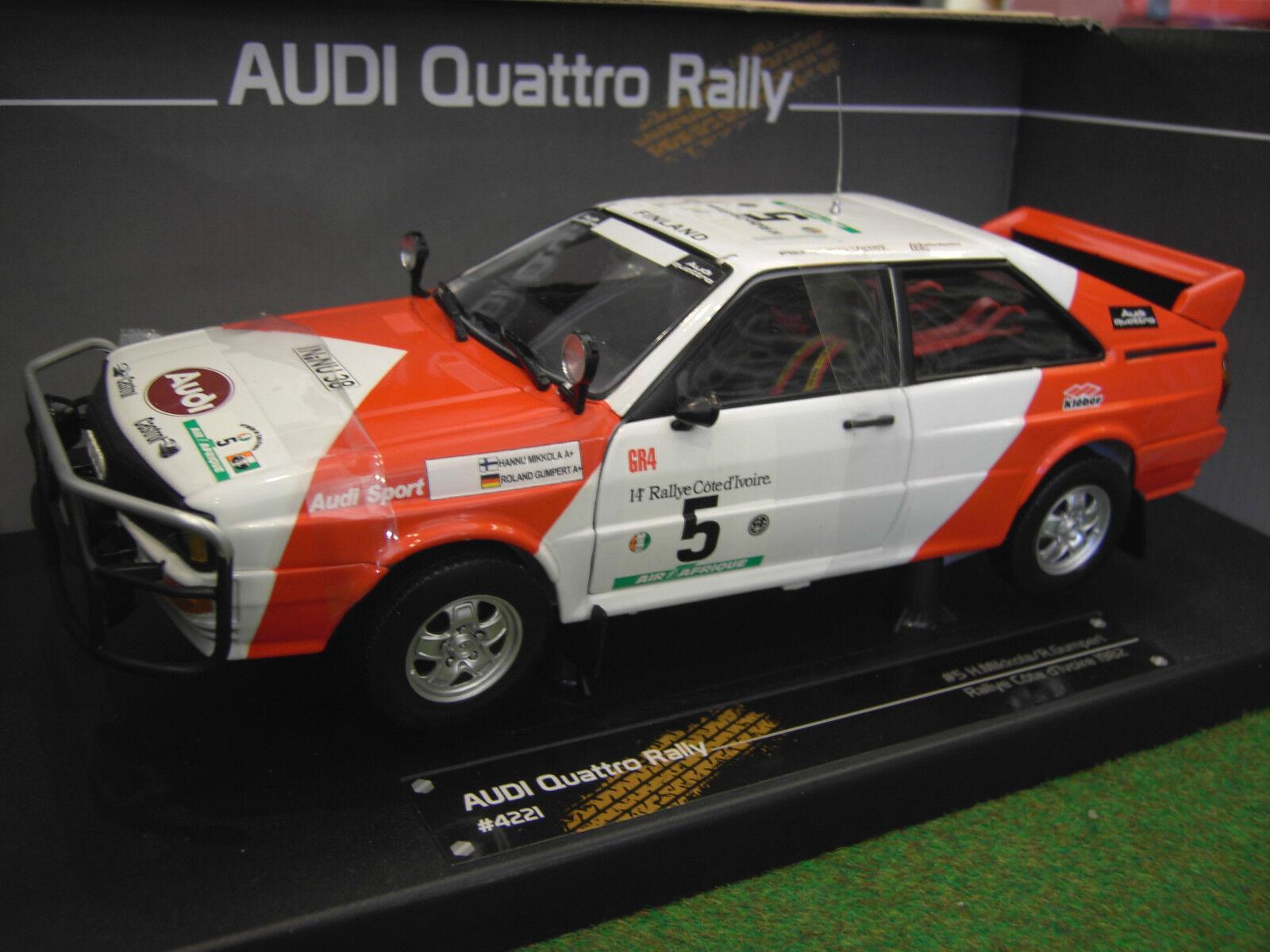 AUDI QUATTRO RALLY CÔTE D'IVOIRE  5 1982 RALLYE 1 18 SUNSTAR 4221 voiture miniat
