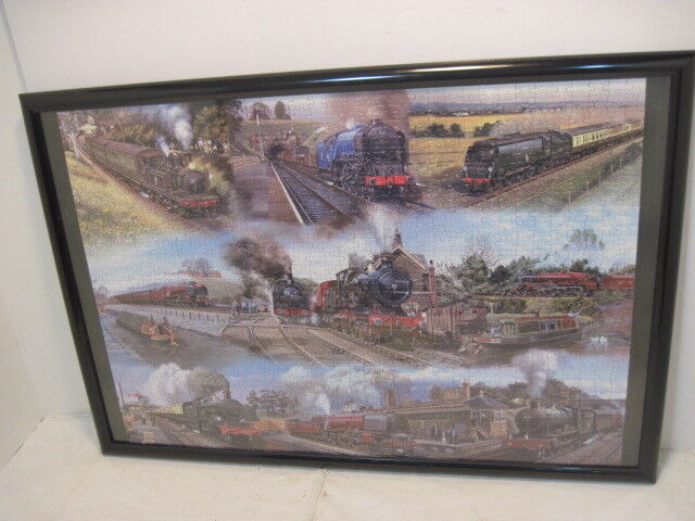 OLD COMPLETE R R TRAIN  JIGSAW PUZZLE HOBBIE FRAMED