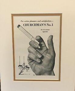 Original-Vintage-Advert-mounted-ready-to-frame-Cigarette-Churchman-No-1-1954