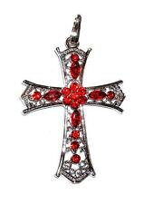 PENDANT/NECKLACE ST Lovely Red Rhinestones & Filigree LARGE CROSS