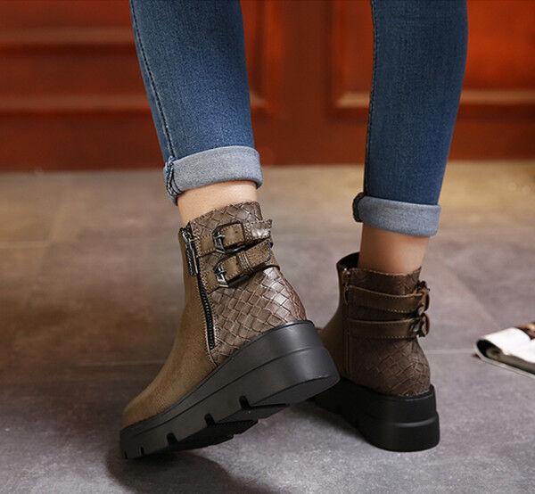 Botas elegantes bajo cómodo botas militares 5 cm marrón como como como piel CW820 88d14f