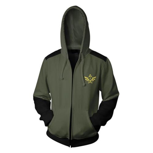 The Legend Of Zelda Hoodie Zipper Sweatshirt Cosplay Costume Jacket Coat New
