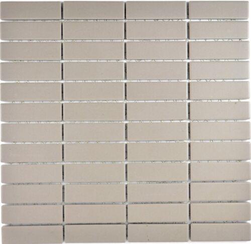 Keramikmosaik Stab grau beige Riemchen unglasiert Fliesenspiegel Küche 24-1202/_f