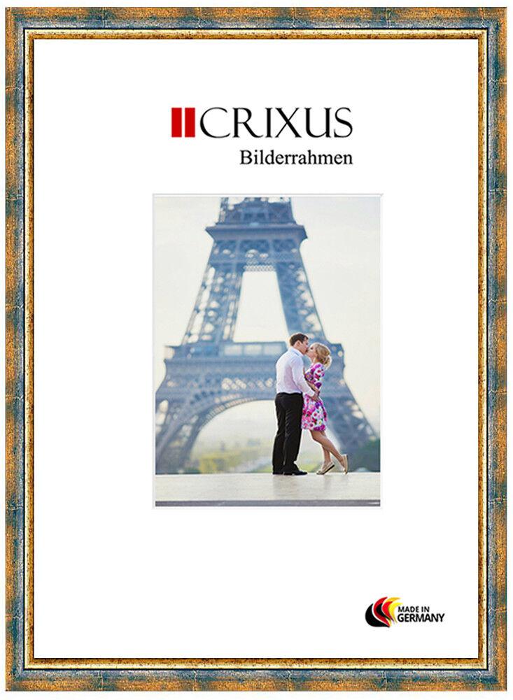 CRIXUS40 Echtholz Bilderrahmen Antik Blau Gold Barock Foto Rahmen B_15-453