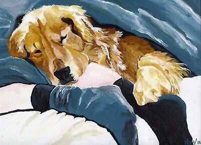 GOLDEN RETRIEVER DUCK dog art PRINT of Painting by VERN