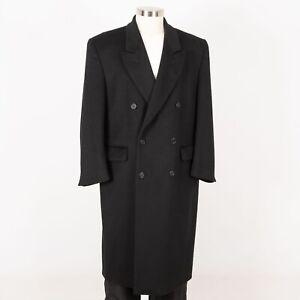 Men-s-Wool-Blend-Full-Length-Coat-Size-L-Large-Black-SAVILE-ROW