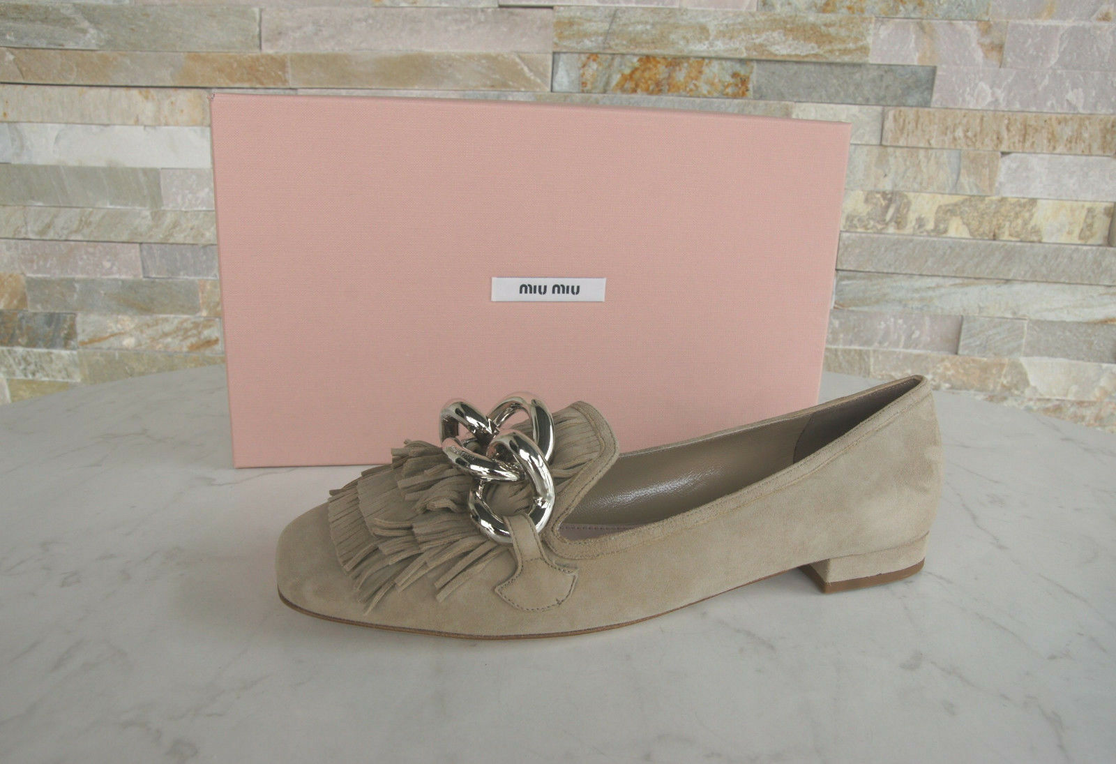 Miu Miu Size 36,5 Low shoes Pumps shoes 5S940A Fringes Beige Formerly New