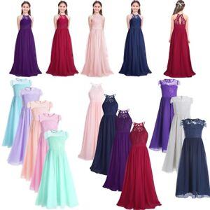 Girl Chiffon Lace Flower Dress Princess Bridesmaid Wedding Formal Party Dresses