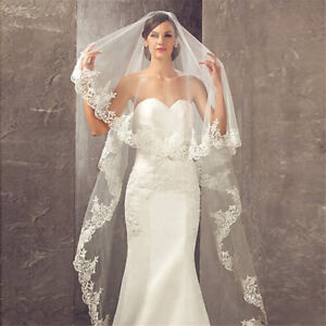 1T-Red-Wedding-Bridal-Veil-Cathedral-Without-Comb-Lace-Edge-Accessories-New