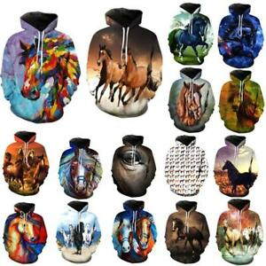 608fc9df89d0 Animal horse 3D Print women  mens Pullover Casual Hoodies tops ...