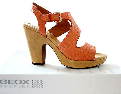 Geox Respira Sandalen Plateau Pumps High Heels 39 40 Orange Leder Strand SR7