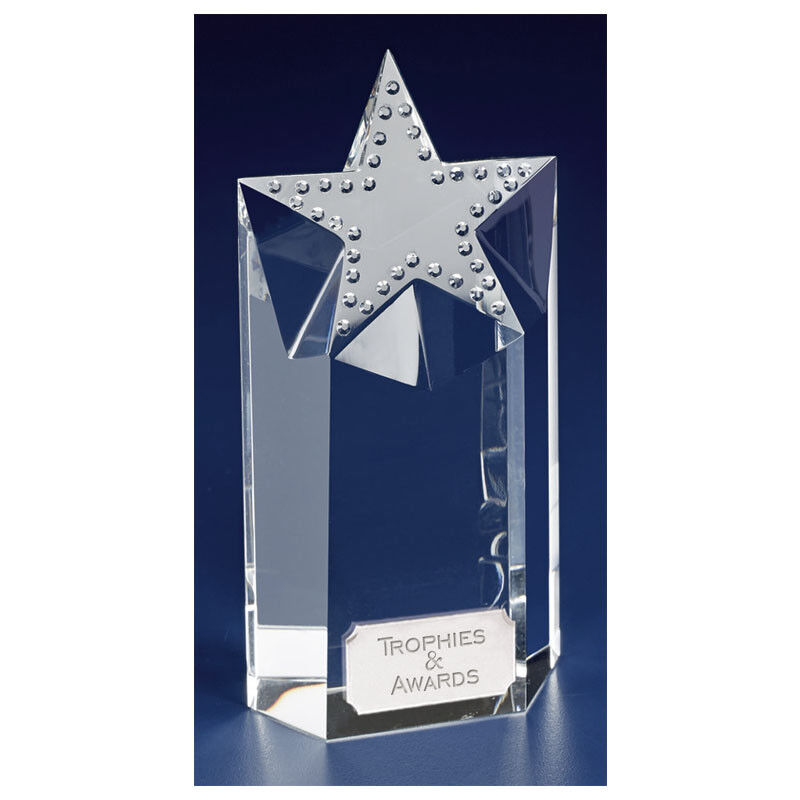 KK205 SOLITAIRE CRYSTAL GLASS SIZE 16.5 CM FREE ENGRAVING (IN PRESENTATION BOX)