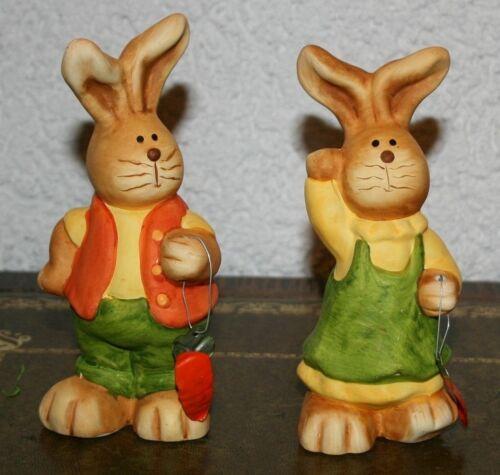 Ostern Hasen 2erSet Figuren Tiere 15 cm+15,5 cm hoch Terracotta Dekoration