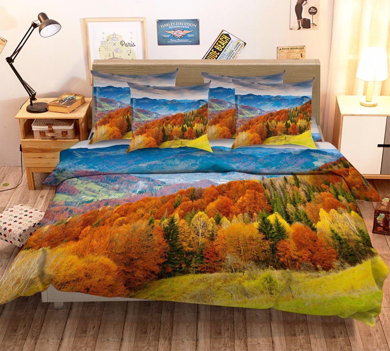 3D Mountain Tree 876 Bed Pillowcases Quilt Duvet Cover Set Single Queen UK Kyra