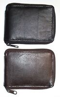 Leather Zipper Bifold Wallet With Flip-out I.d. - Choice Black Or Brown