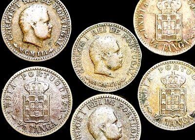 12 Twelve Portuguese India Carlos I  1//8 Tanga Coins VG Dated 1901 or 1903