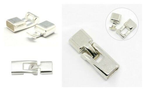 BOGOF-Bright Silver Glue In Leather Snap Lock Clasp Oval Inner 11mm lady-muck1