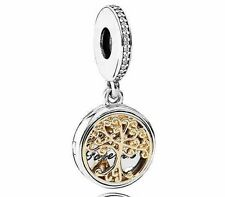 Gold Family Roots Locket Forever Tree Real Silver s925 & Alloy Charm +Gift Pouch
