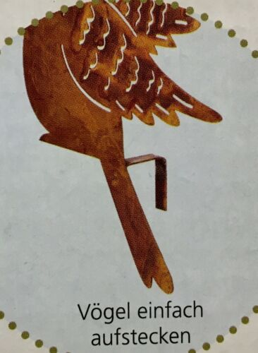 Zaundeko 5 Vögel NEU aus Metall in rost braun