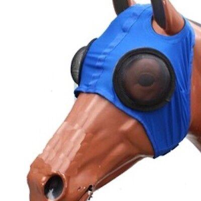 Lycra Mesh Horse Eye Hood Powder Coated S// Steel Mesh Eyecups~Blue ~ One Size