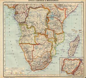 Cartina Geografica Dell Africa Fisica.Carta Geografica Antica Africa Centrale Meridionale Paravia 1941 Old Antique Map Ebay