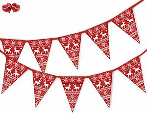 Christmas-jumper-red-reindeer-pattern-Bunting-Banner-15-flags-by-PARTY-DECOR