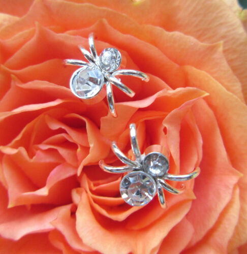 Ohrstecker Ohrring Silber Spinne Insekt Krabbeltier mit Kristall weiß