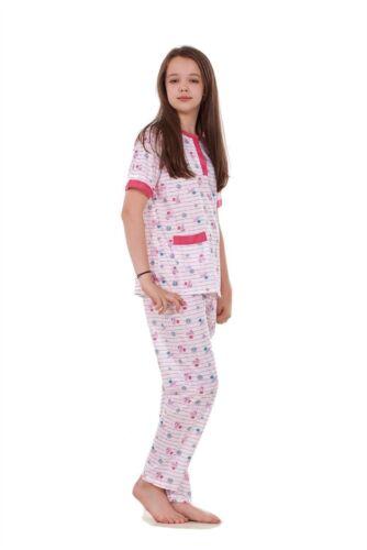 NUOVO Ragazze Bambini Pigiama coniglio cucciolo Stampato Manica Corta Soft Nightwear ANNO 4 to14