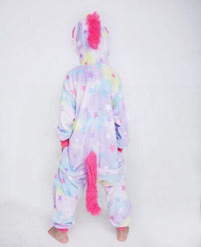 Kids Adult Rainbow Unicorn Kigurumi Animal Cosplay Costume OnesiePJS Sleepwear