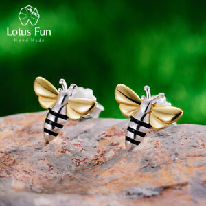 Solid-925-Sterling-Silver-Jewelry-Handmade-Honey-Bee-Stud-Earrings-for-Ladies