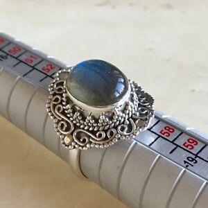 Impresionante-fuego-azul-Labradorita-amp-925-Sterling-Silver-Ring-UK-Size-O-5-P