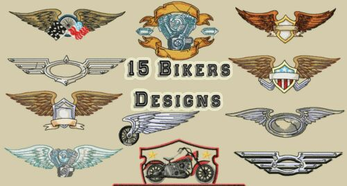 PES DST JEF FORMATS 15 BIKERS EMBROIDERY DESIGNS MACHINE EMBROIDERY DESIGNS